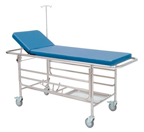 Krankentrage fahrbar, Seitengitter, Ablage, O²Halter